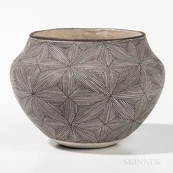 Contemporary Acoma Polychrome Pottery Jar