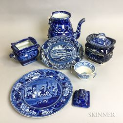 Six Piece of Historic Blue Transfer-decorated Ceramic Tableware
