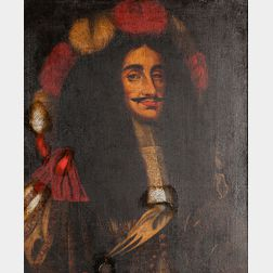 Flemish School, 17th Century Style      Royal Man, Thought to be Charles II of England, in an Elaborate Red and White Plumed Hood