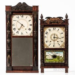 Two Connecticut Wooden Movement Shelf Clocks
