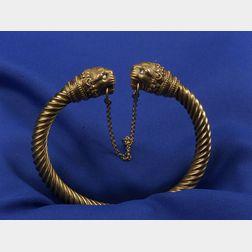 Antique 18kt Gold Lion Bangle Bracelet