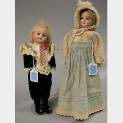 Two Small German Bisque Head Dolls