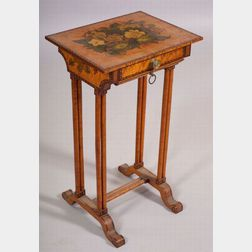 Federal Diminutive Painted and Decorated Bird's-eye Maple Work Table