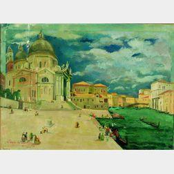 Jean Isy de Botton (French, 1898-1978)    Venise - L'Orage sur la Santa Maria della Salute