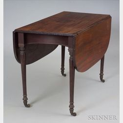 Neoclassical Carved Mahogany Drop-leaf Table