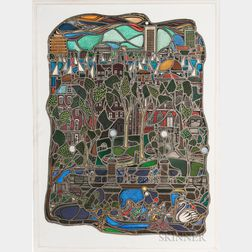 Lyn Hovey (American, 20th/21st Century) Stained Glass Window      Cityscape