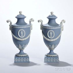 Pair of Wedgwood Solid Light Blue Jasper Vases and Covers
