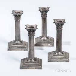 Four Gorham Sterling Silver Candlesticks