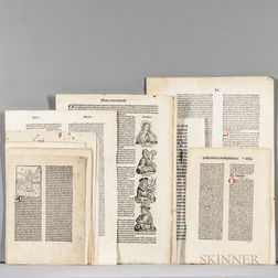 Leaves from Incunabula, Early Printed Books, and Fine Printing, Approximately Thirty-eight Leaves.