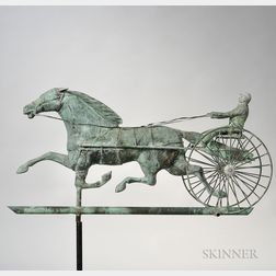 Molded Sheet Copper and Copper Wire Horse & Sulky Weathervane