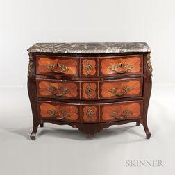 Louis XV-style Marble-top Ormolu-mounted Tulipwood and Mahogany-veneered Commode