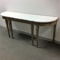 Louis XVI-style Carved and Gilt Marble-top Console Table