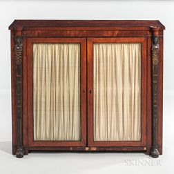 Egyptian Revival Glazed Bookcase