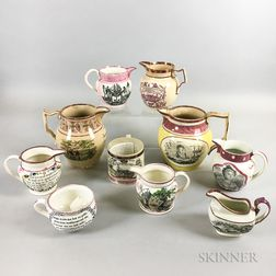 Ten Staffordshire Pink Lustre Transfer-decorated Jugs and Mugs