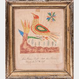 John Henry Sight (Probably Pennsylvania, Mid-19th Century)      Folk Painting of a Bird on a Branch