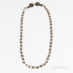 Plains Pipebead and Leather Necklace