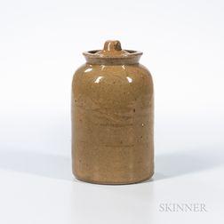 John Bell Glazed Redware Tobacco Jar