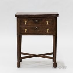Continental Mahogany Veneer Two-drawer Worktable