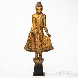 Giltwood Standing Buddha