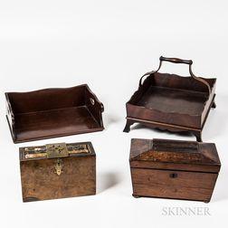 Two Mahogany Carriers, a Walnut-veneer Tea Caddy, and a Birch-veneer Lock Box