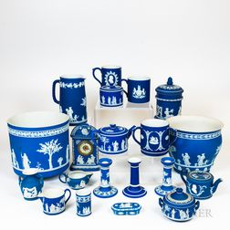 Large Group of Wedgwood Dark Blue Jasperware
