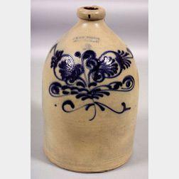 Two-Gallon Cobalt Blue Decorated Stoneware Jug