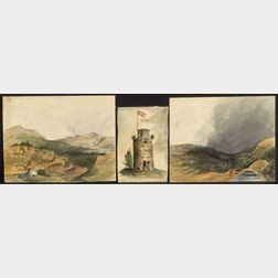 Attributed to Henry Schreiner Stellwagen (American, d. 1866)    Five Small Watercolor Views.