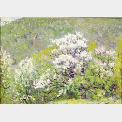 John Joseph Enneking (American, 1841-1916)      Big Blue Thru the Trees