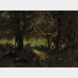 Barbizon School, 19th Century      Peasant Figure on a Wooded Path