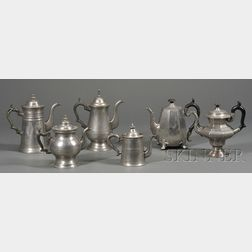 Four Pewter Teapots and Two Pewter Coffeepots