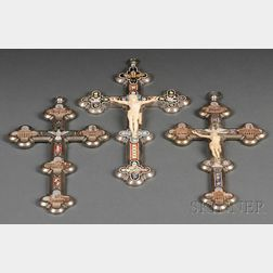Three Italian Micromosaic Crosses