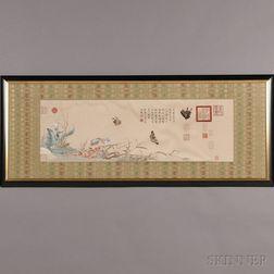 Framed Cream Silk Embroidery