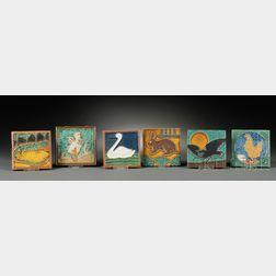 Six Dutch Animal-motif Tiles