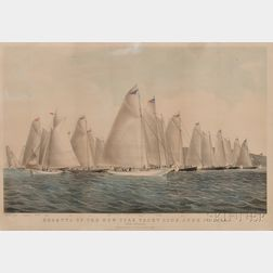 Nathaniel Currier, publisher (American, 1813-1888)      REGATTA OF THE NEW YORK YACHT CLUB...THE START.
