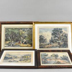 Four Framed Currier & Ives Engravings
