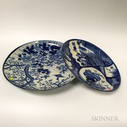 Two Japanese Imari Blue and White Porcelain Chargers