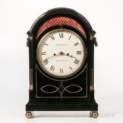 Jonathan Robotham Ebonized and Brass-mounted Mantel Clock