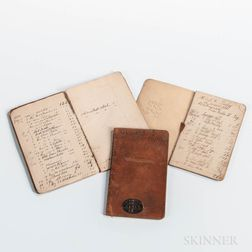 Three 19th Century W. & L.E. Gurley Leather-bound Day Books or Ledgers.