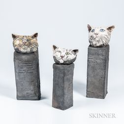 Three Jill Crowley Ceramic Cat Sculptures
