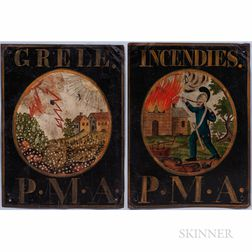 "Pair of Painted Tin ""Premiere Mutual Assurance"" Advertising Signs"