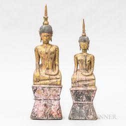 Two Thai Polychrome Buddhas