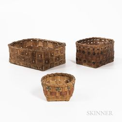 Three Northeast Polychrome Splint Wood Baskets