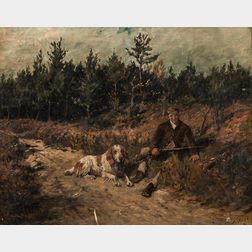 John Emms (British, 1843-1912)      Hunter and Dog at Rest