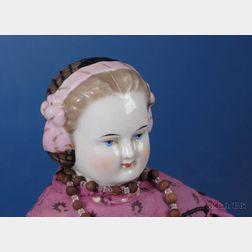Dark Blonde China Shoulder Head Doll with Decorative Snood