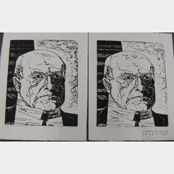 Two Unframed Woodcuts on Paper Portrait Head of Max Beckmann