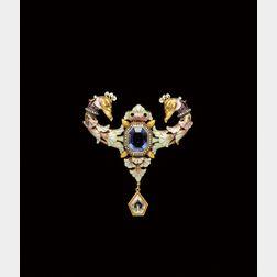 Renaissance Revival Sapphire, Diamond, and Enamel Brooch, Gustave Espinasse