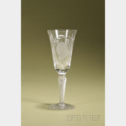 Webb Corbett Commemorative Etched Crystal Champagne Flute