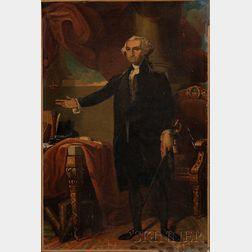 After Gilbert Stuart (American,  1755-1828),      Portrait of George Washington.