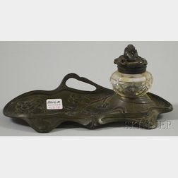 Art Nouveau Patinated Cast Metal and Colorless Glass Ink Stand