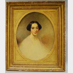 19th Century School of Thomas Sully Oil on Canvas Portrait of Nancy Elizabeth Sugden   of Norwich, Connecticut